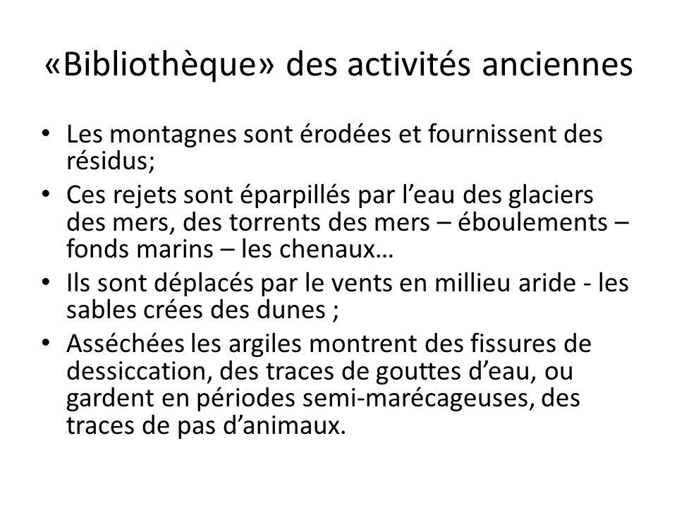 «Bibliothèque» des activités anciennes Les montagnes sont érodées et fournissent des résidus; Ces rejets sont éparpillés par leau des glaciers des mer