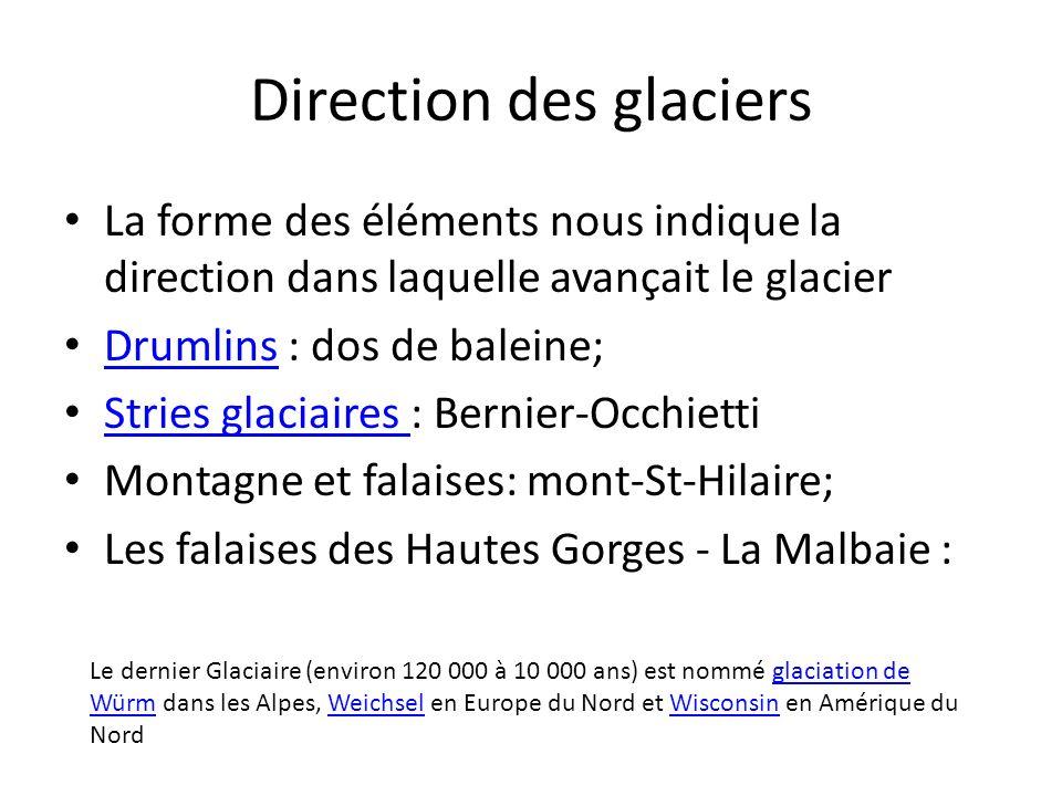 Direction des glaciers La forme des éléments nous indique la direction dans laquelle avançait le glacier Drumlins : dos de baleine; Drumlins Stries gl