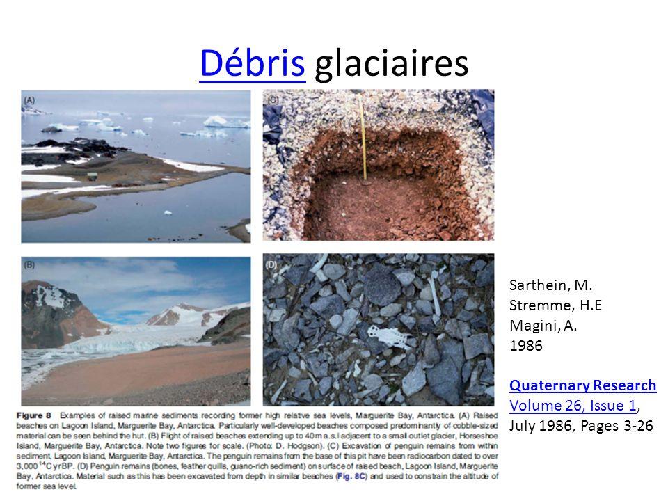 DébrisDébris glaciaires Quaternary Research Volume 26, Issue 1Quaternary Research Volume 26, Issue 1, July 1986, Pages 3-26 Sarthein, M. Stremme, H.E
