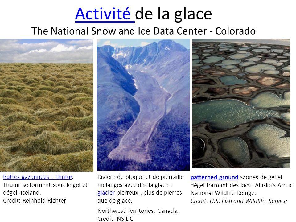 Activité Activité de la glace The National Snow and Ice Data Center - Colorado Buttes gazonnées : thufurButtes gazonnées : thufur. Thufur se forment s