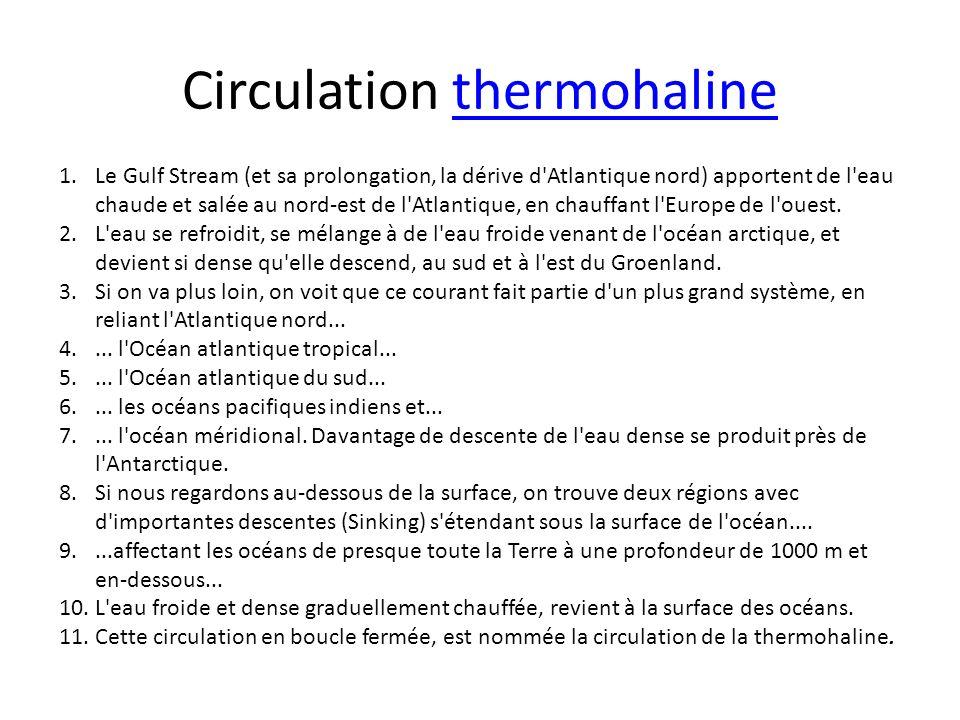 Circulation thermohalinethermohaline 1.Le Gulf Stream (et sa prolongation, la dérive d'Atlantique nord) apportent de l'eau chaude et salée au nord-est