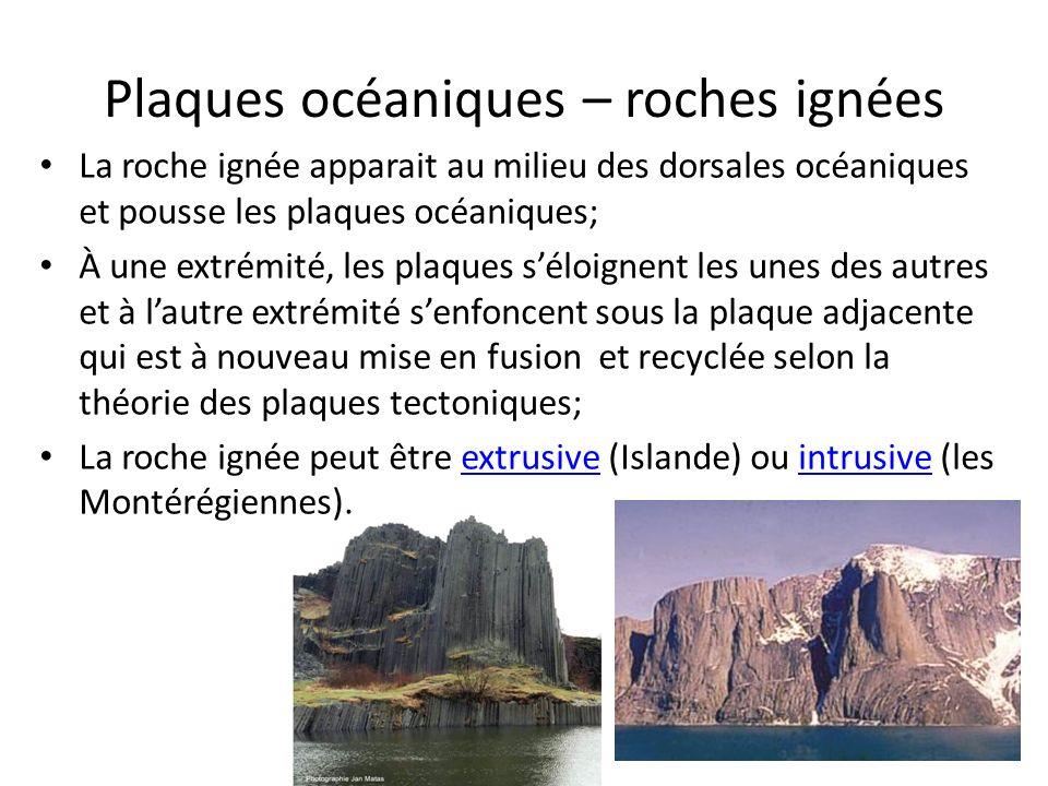 Plaques océaniques – roches ignées La roche ignée apparait au milieu des dorsales océaniques et pousse les plaques océaniques; À une extrémité, les pl