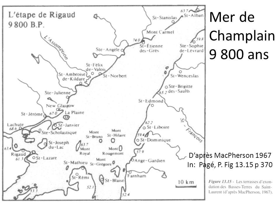 Daprès MacPherson 1967 In: Pagé, P. Fig 13.15 p 370 Mer de Champlain 9 800 ans