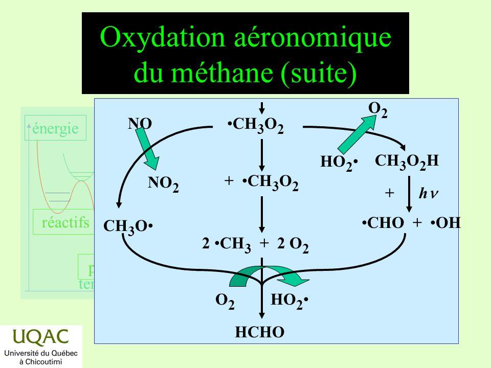 réactifs produits énergie temps Oxydation aéronomique de la formaldéhyde HCHO CO 2 OH H CO OH H 2 O + h H 2 + CO + h HCO + H + h HCO