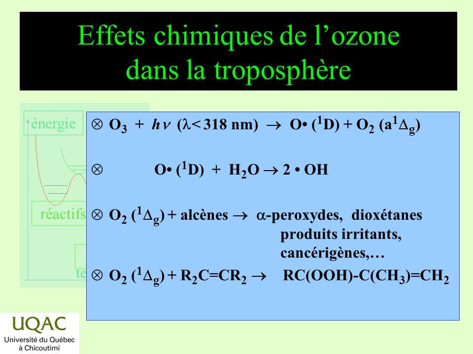 réactifs produits énergie temps La photochimie de la stratosphère : la formation de lozone *Mécanisme en chaîne entretenu par la lumière ultraviolette.