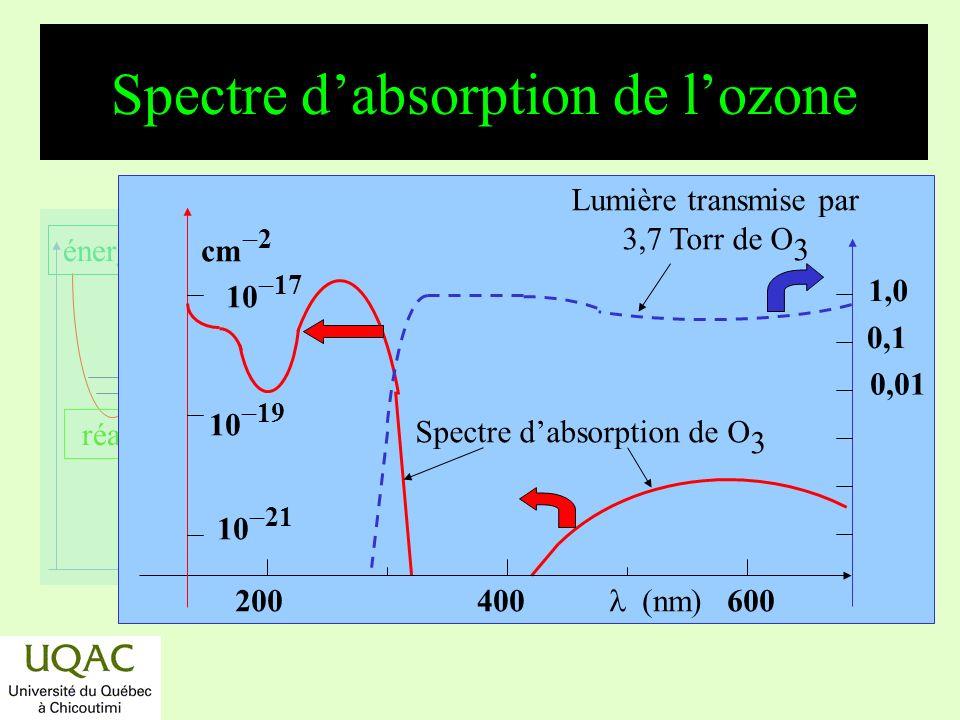 réactifs produits énergie temps Leffet des Concordes *Globalement : O + O 3 2 O 2 *Les calculs montrent que 500 Concordes volant 7 h/j font baisser la concentration en ozone de 2 à 3 % .