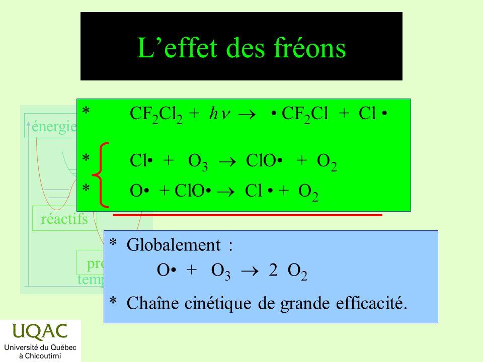 réactifs produits énergie temps ClClOHClHOCl C n F y Cl z C n H x Cl 4n-x ClONO 2 OH HO 2 h h O 1 D, h O 1 D, h, OH NO 2 O3O3 O, NOOH H 2, CH 4, HO 2 Cycles stratosphériques des espèces ClO x, cycle de NICOLET