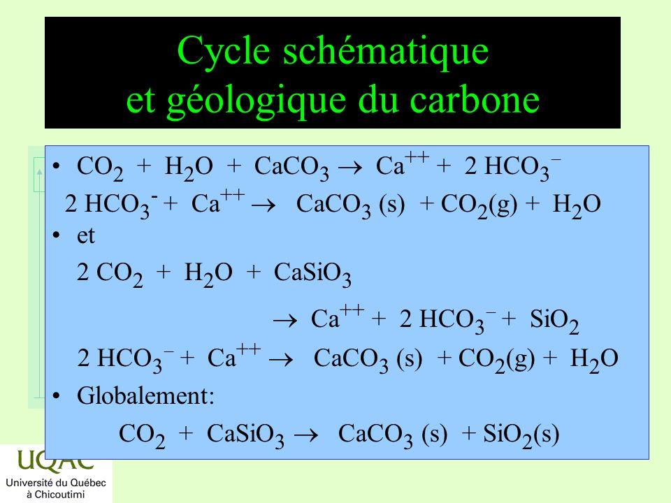 réactifs produits énergie temps Échange de carbone entre le sol et latmosphère Processus déchange sens 10 9 t/an diffusion+ 100 diffusion 104 respiration du sol + 50 photosynthèse 100 respiration végétale + 50 déforestation + 2 combustions fossiles + 5