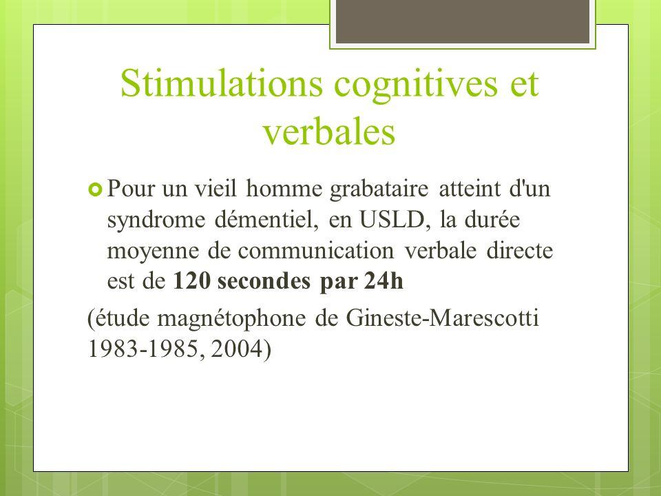 Stimulations cognitives et verbales Pour un vieil homme grabataire atteint d'un syndrome démentiel, en USLD, la durée moyenne de communication verbale