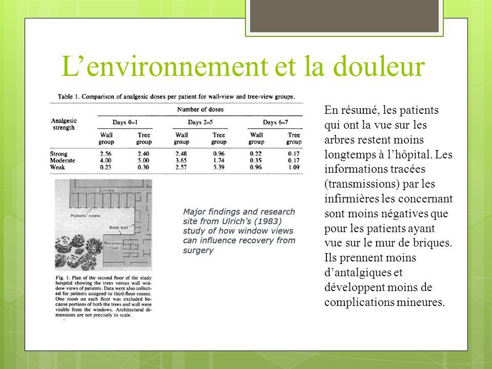 La psychologie environnementale Agir sur lenvironnement = mettre en place une action continue Lenvironnement est un outil de travail Le jardin peut agir telle une prothèse pour compenser les difficultés des résidents