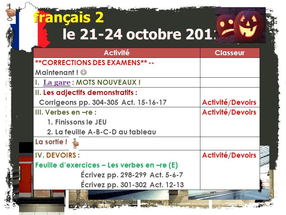 français 2 Le 21-24 octobre 2011