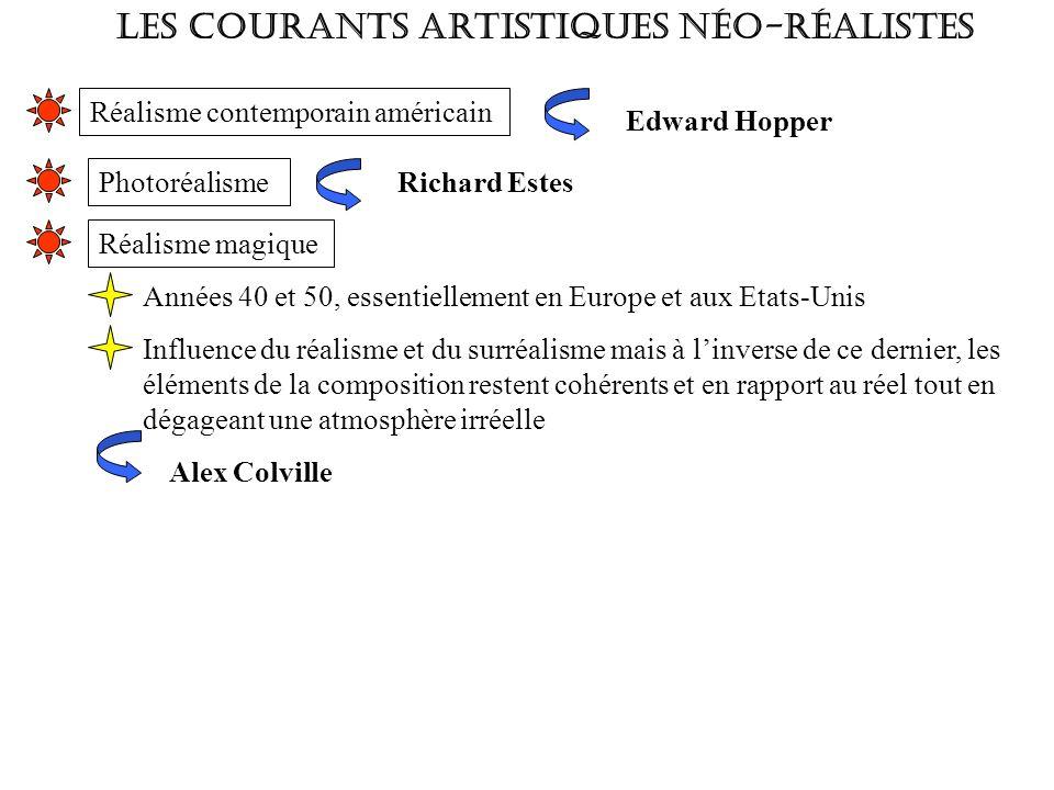 Les courants artistiques néo-réalistes Réalisme contemporain américain Edward Hopper Photoréalisme Richard Estes Réalisme magique Années 40 et 50, ess