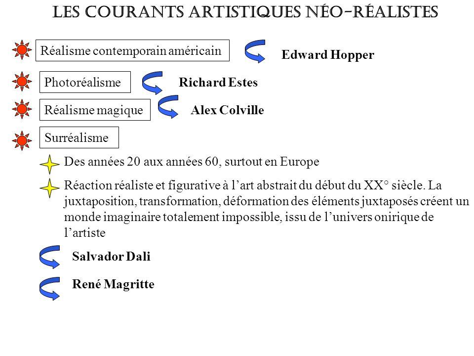 Les courants artistiques néo-réalistes Réalisme contemporain américain Edward Hopper Photoréalisme Richard Estes Réalisme magique Alex Colville Surréa