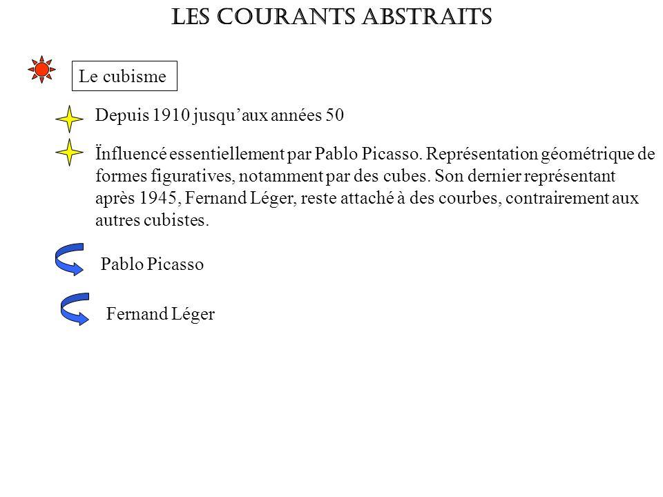 LES COURANTS ABSTRAITS Le cubisme Depuis 1910 jusquaux années 50 Ïnfluencé essentiellement par Pablo Picasso. Représentation géométrique de formes fig
