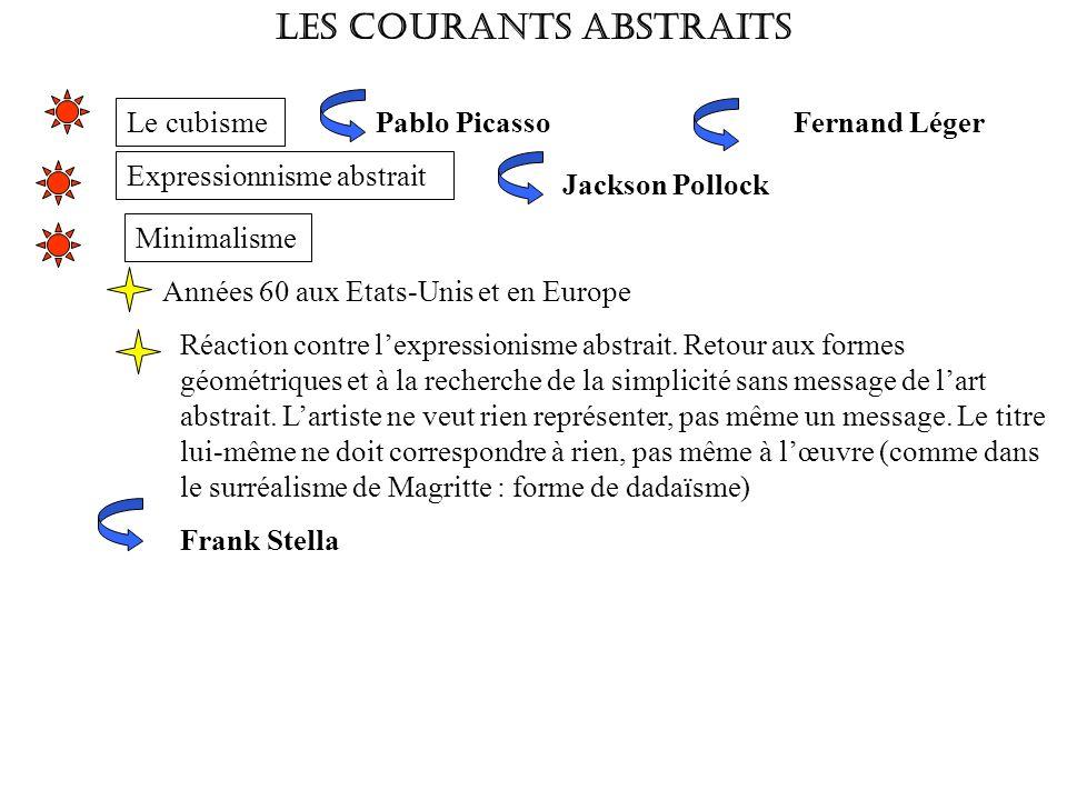 LES COURANTS ABSTRAITS Expressionnisme abstrait Frank Stella Minimalisme Années 60 aux Etats-Unis et en Europe Réaction contre lexpressionisme abstrai