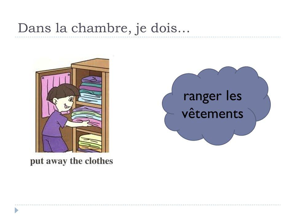 Dans la chambre, je dois… ranger les vêtements