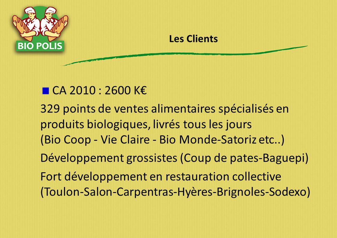 Les Clients CA 2010 : 2600 K 329 points de ventes alimentaires spécialisés en produits biologiques, livrés tous les jours (Bio Coop - Vie Claire - Bio