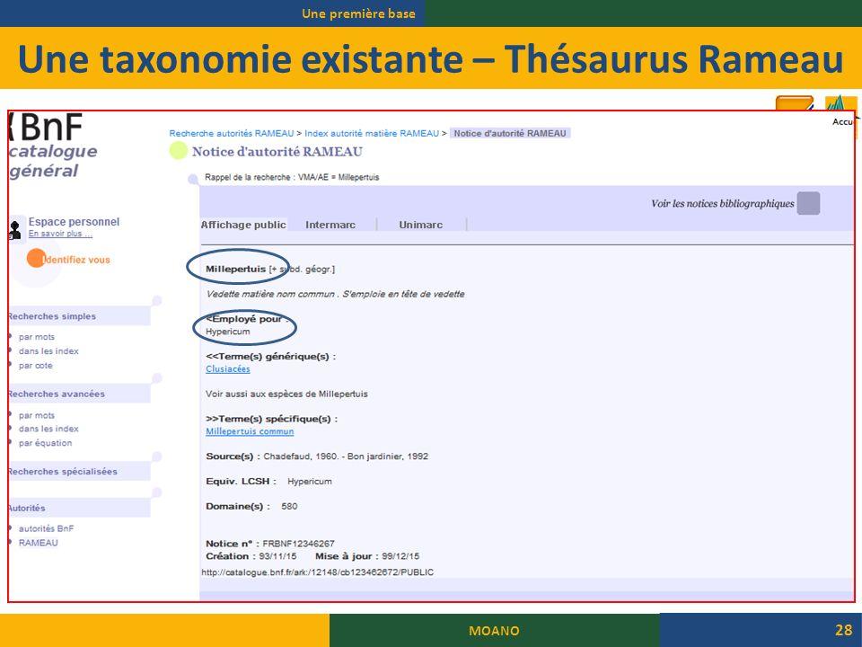 Une taxonomie existante – Thésaurus Rameau Une première base MOANO 28