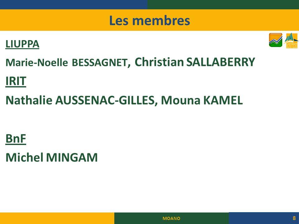 Les membres LIUPPA Marie-Noelle BESSAGNET, Christian SALLABERRY IRIT Nathalie AUSSENAC-GILLES, Mouna KAMEL BnF Michel MINGAM MOANO 8