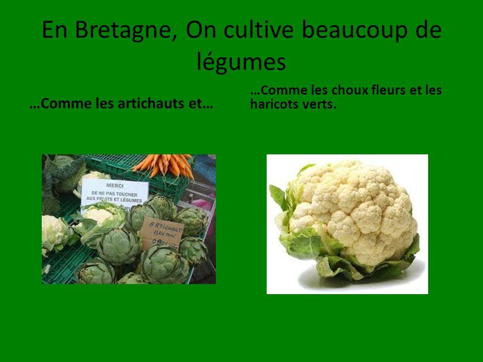 En Bretagne, On cultive beaucoup de légumes …Comme les artichauts et… …Comme les choux fleurs et les haricots verts.