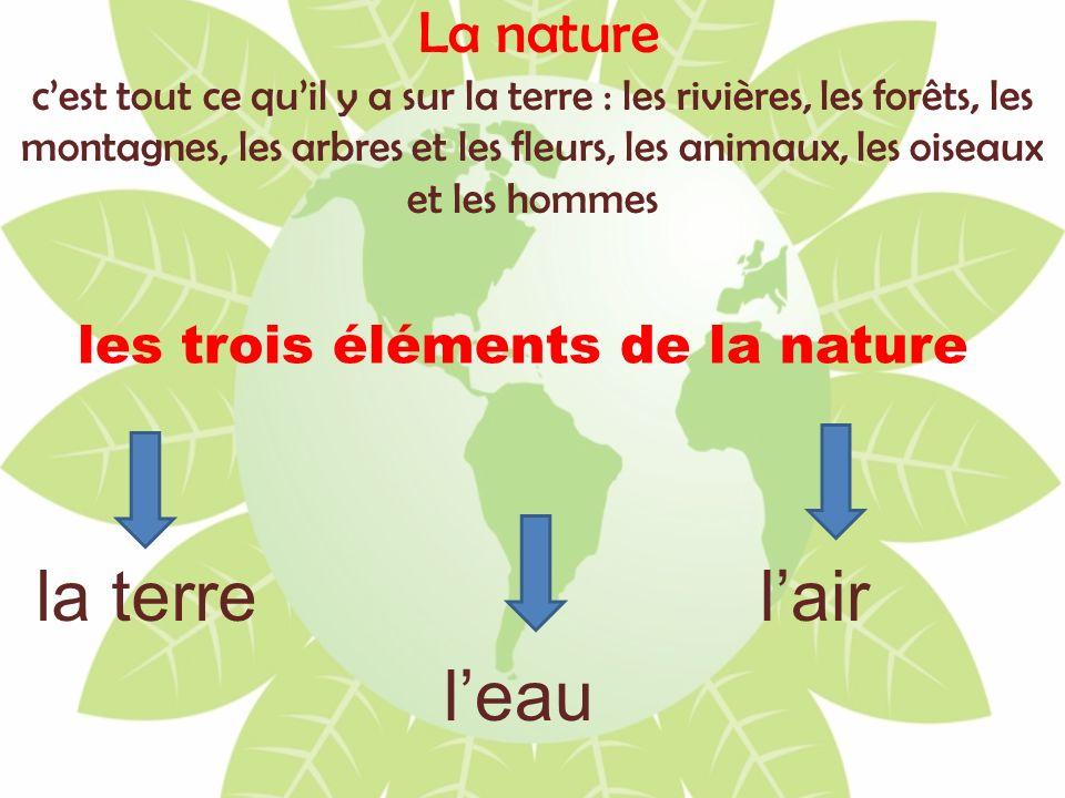 La nature cest tout ce quil y a sur la terre : les rivières, les forêts, les montagnes, les arbres et les fleurs, les animaux, les oiseaux et les homm
