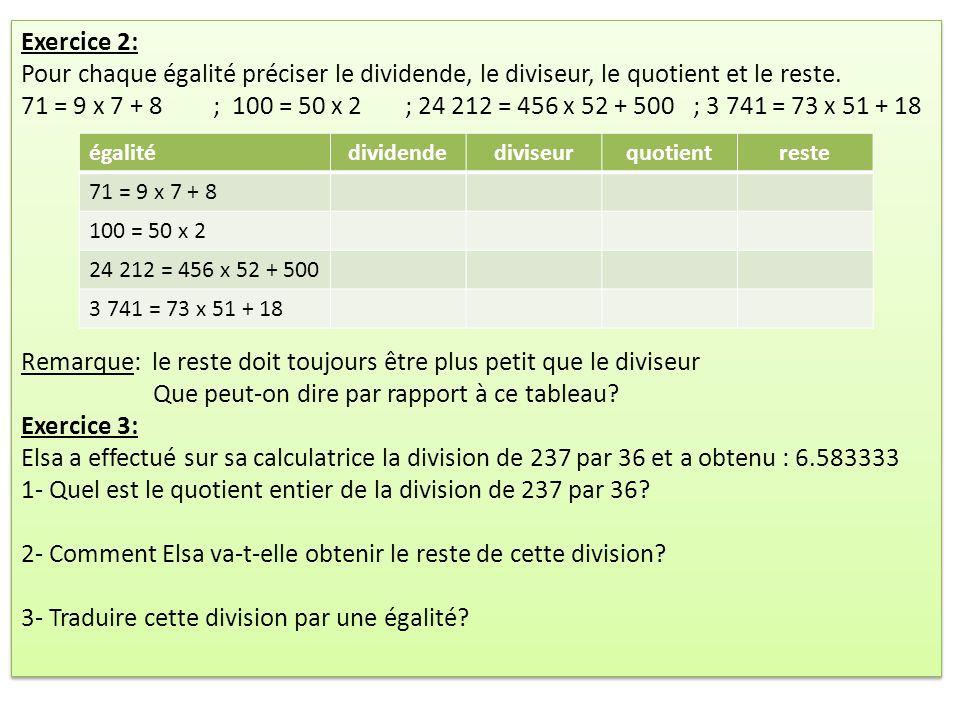 Exercice 2: Pour chaque égalité préciser le dividende, le diviseur, le quotient et le reste.