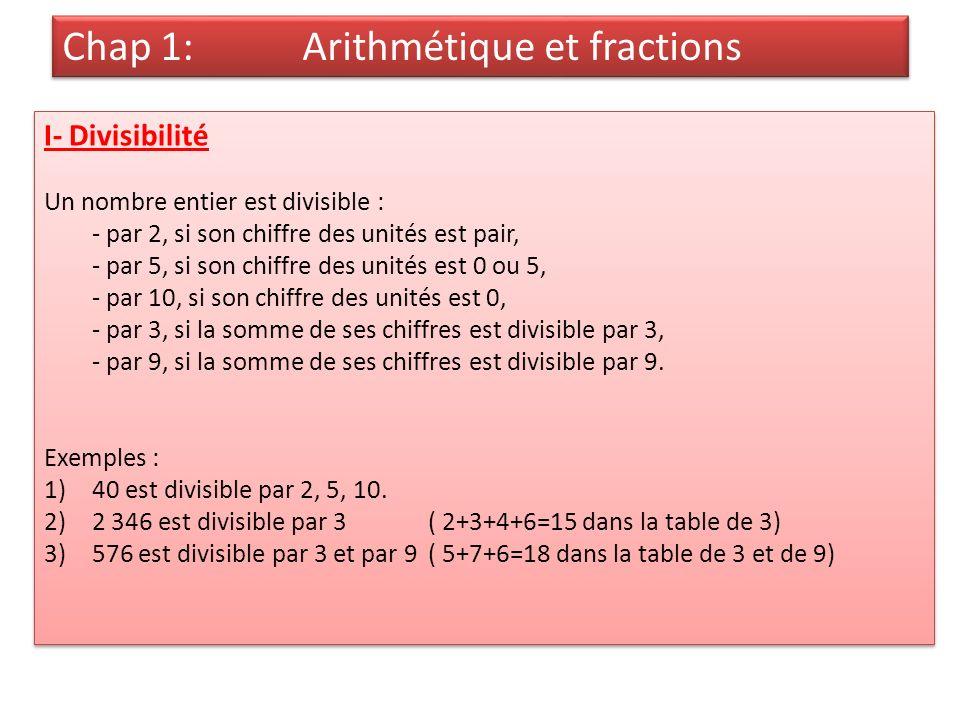 Chap 1: Arithmétique et fractions I- Divisibilité Un nombre entier est divisible : - par 2, si son chiffre des unités est pair, - par 5, si son chiffre des unités est 0 ou 5, - par 10, si son chiffre des unités est 0, - par 3, si la somme de ses chiffres est divisible par 3, - par 9, si la somme de ses chiffres est divisible par 9.