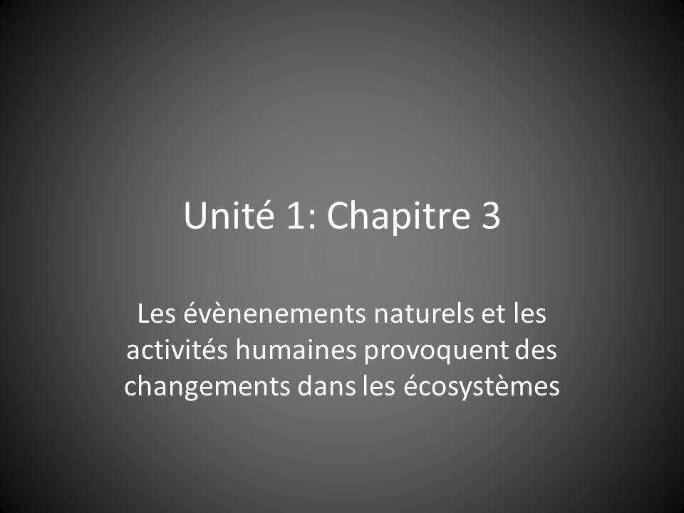 Unité 1: Chapitre 3 Les évènenements naturels et les activités humaines provoquent des changements dans les écosystèmes