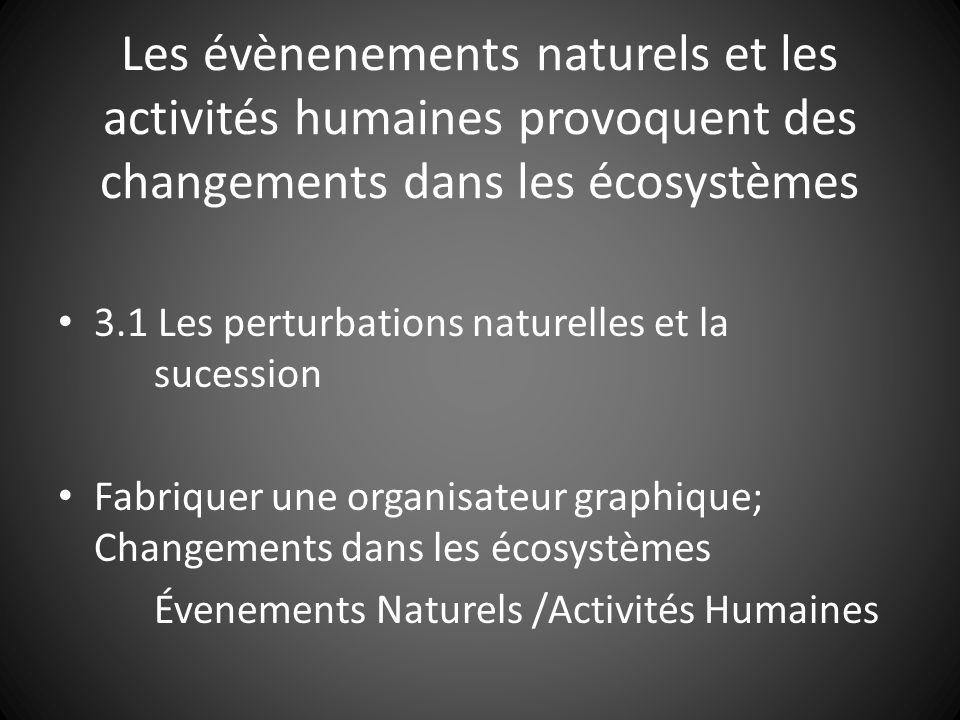 3.1 Les perturbations naturelles et la sucession Fabriquer une organisateur graphique; Changements dans les écosystèmes Évenements Naturels /Activités Humaines