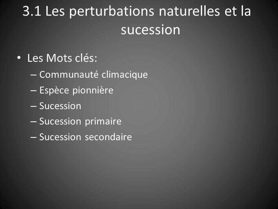 3.1 Les perturbations naturelles et la sucession Les Mots clés: – Communauté climacique – Espèce pionnière – Sucession – Sucession primaire – Sucession secondaire