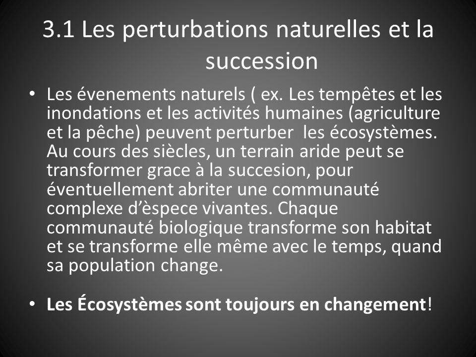 3.1 Les perturbations naturelles et la succession Succession: Quest ce que cest.