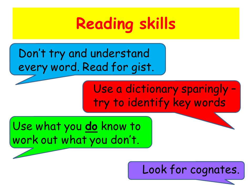 Reading skills Use what you do know to work out what you dont. Dont try and understand every word. Read for gist. Look for cognates. Use a dictionary