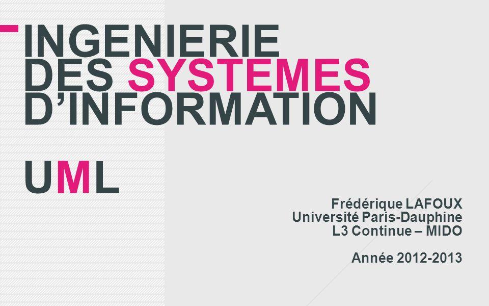 INGENIERIE DES SYSTEMES DINFORMATION UML Frédérique LAFOUX Université Paris-Dauphine L3 Continue – MIDO Année 2012-2013