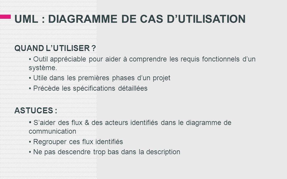UML : DIAGRAMME DE CAS DUTILISATION QUAND LUTILISER ? Outil appréciable pour aider à comprendre les requis fonctionnels dun système. Utile dans les pr