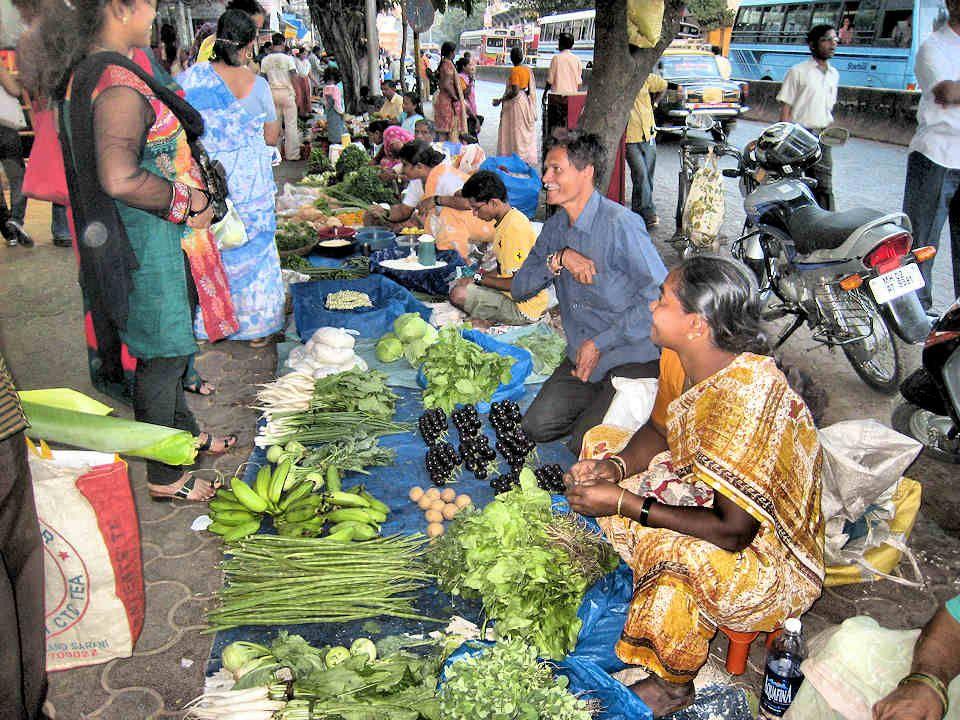 Ce marchand écosse les petits pois afin de les vendre prêts à cuisiner.
