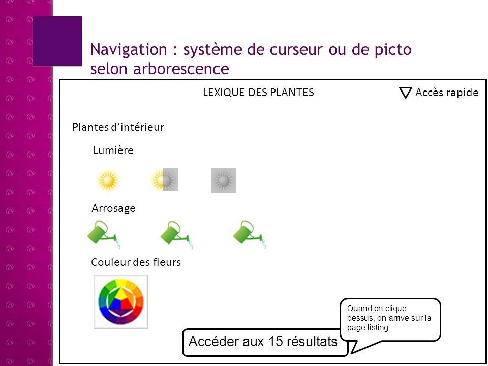 Navigation : système de curseur ou de picto selon arborescence LEXIQUE DES PLANTES Accès rapide Plantes dextérieur Accéder aux 9 résultats Arbres et arbustesPlantes fleuries de saisonPotager / verger