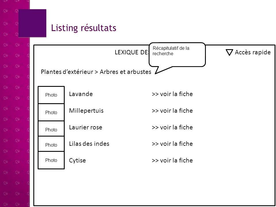Affichage dune fiche LEXIQUE DES PLANTES Accès rapide Plantes dextérieur > Arbres et arbustes > Lavande Photo Description : Originaire du bassin méditerranéen.