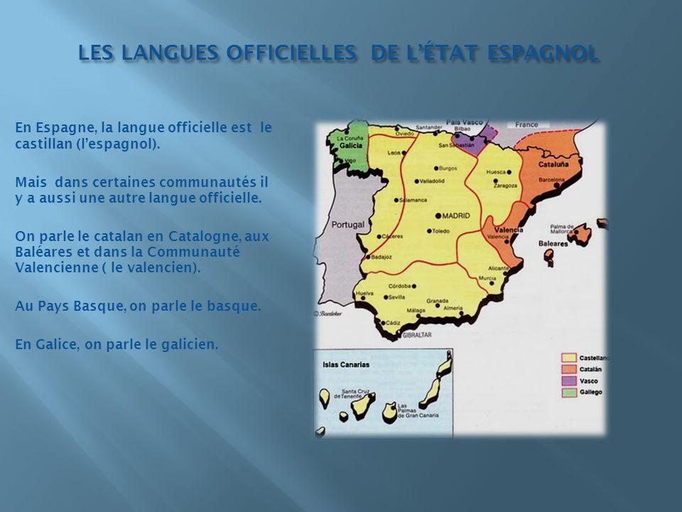 LES LANGUES OFFICIELLES DE LÉTAT ESPAGNOL En Espagne, la langue officielle est le castillan (lespagnol). Mais dans certaines communautés il y a aussi
