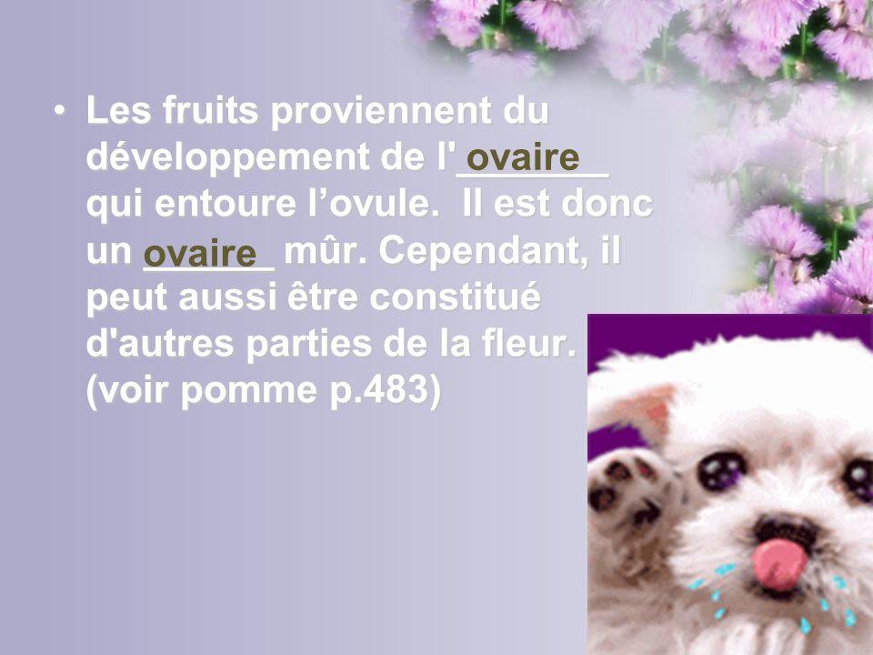 Les fruits proviennent du développement de l'_______ qui entoure lovule. Il est donc un ______ mûr. Cependant, il peut aussi être constitué d'autres p