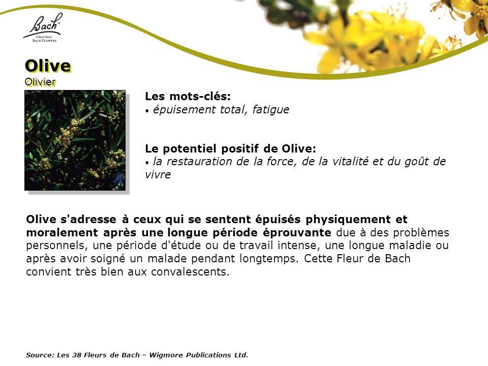 Les mots-clés: épuisement total, fatigue Le potentiel positif de Olive: la restauration de la force, de la vitalité et du goût de vivre Olive Olivier