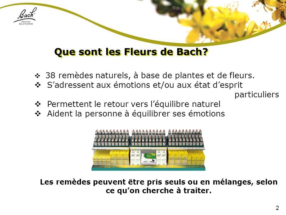 2 38 remèdes naturels, à base de plantes et de fleurs. Sadressent aux émotions et/ou aux état desprit particuliers Permettent le retour vers léquilibr