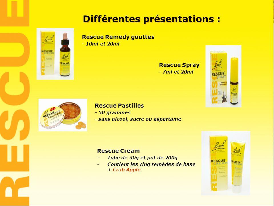 4 Différentes présentations : Rescue Remedy gouttes - 10ml et 20ml Rescue Spray - 7ml et 20ml Rescue Pastilles - 50 grammes - sans alcool, sucre ou as