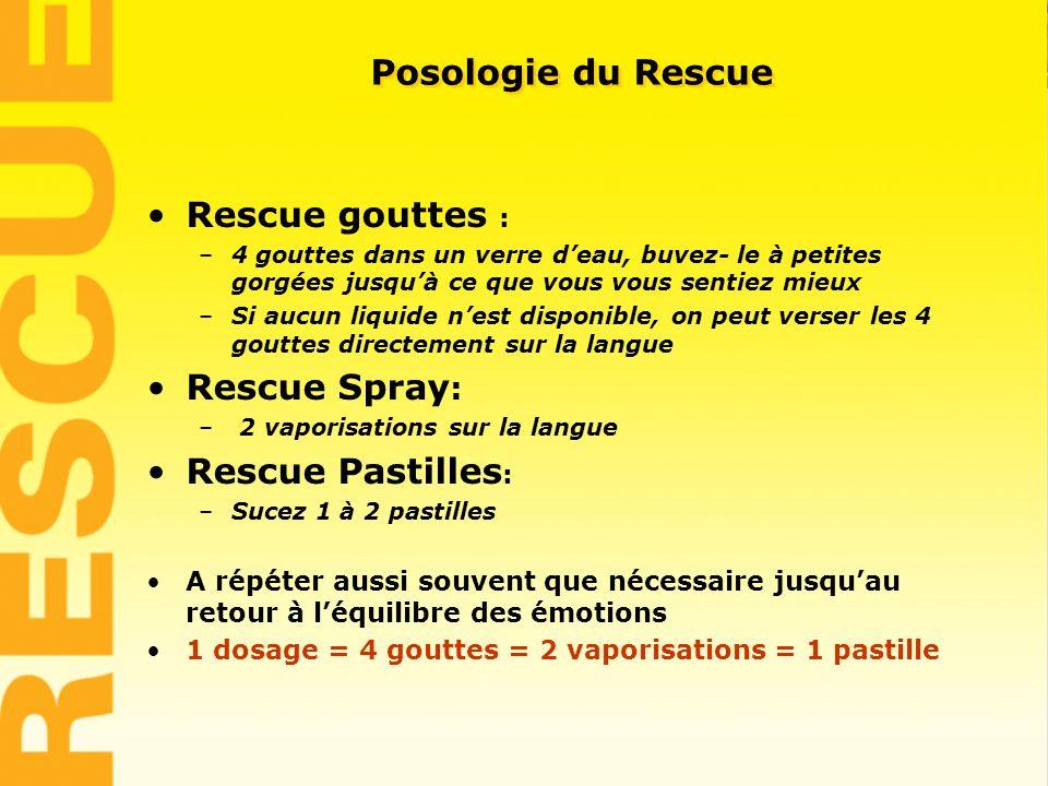 5 Rescue gouttes : –4 gouttes dans un verre deau, buvez- le à petites gorgées jusquà ce que vous vous sentiez mieux –Si aucun liquide nest disponible,