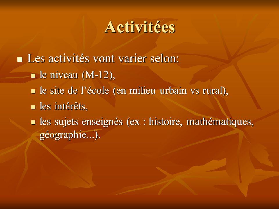 Activitées Les activités vont varier selon: Les activités vont varier selon: le niveau (M-12), le niveau (M-12), le site de lécole (en milieu urbain vs rural), le site de lécole (en milieu urbain vs rural), les intérêts, les intérêts, les sujets enseignés (ex : histoire, mathématiques, géographie...).