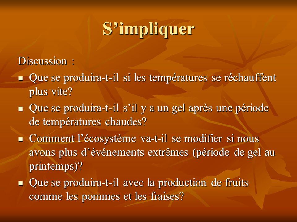 Simpliquer Discussion : Que se produira-t-il si les températures se réchauffent plus vite.