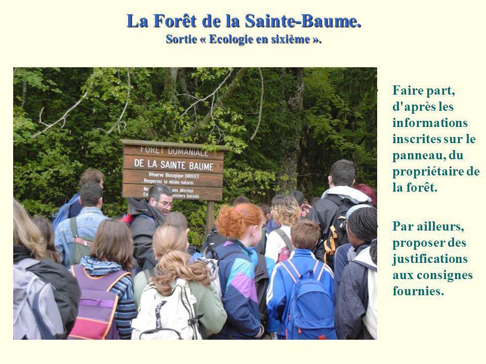 Faire part, d après les informations inscrites sur le panneau, du propriétaire de la forêt.