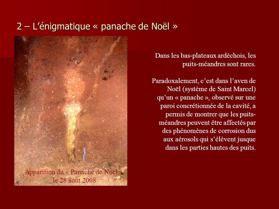 2 – Lénigmatique « panache de Noël » Dans les bas-plateaux ardéchois, les puits-méandres sont rares. Paradoxalement, cest dans laven de Noël (système