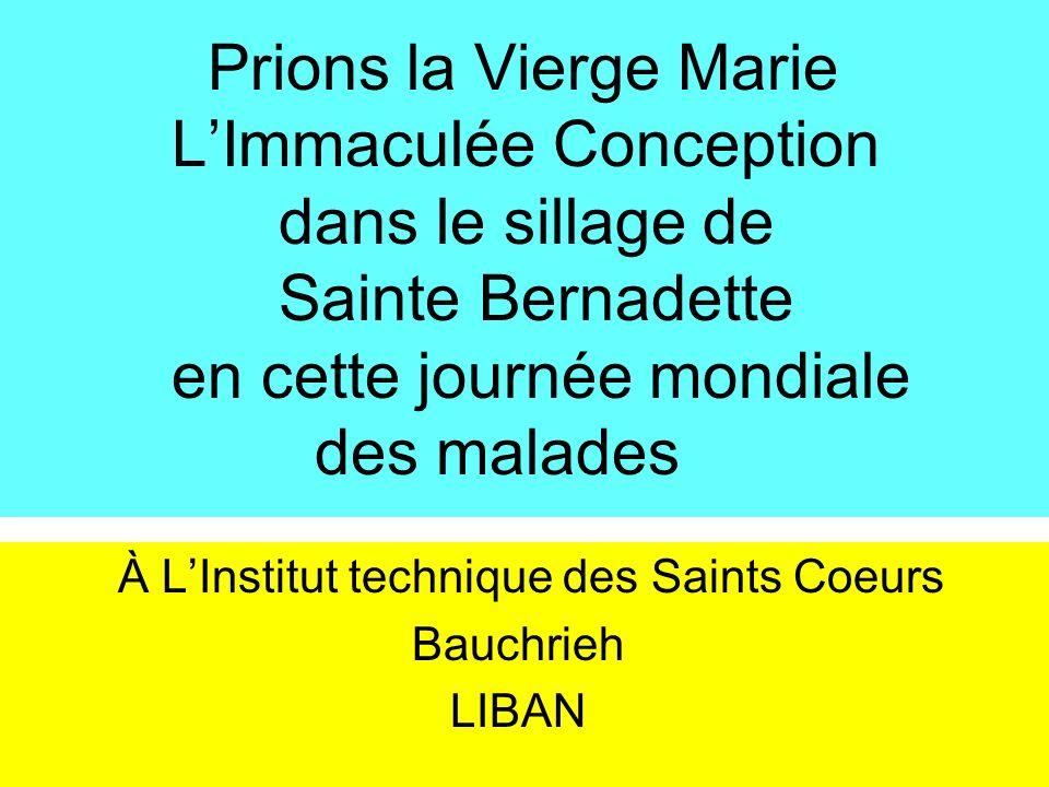 Prions la Vierge Marie LImmaculée Conception dans le sillage de Sainte Bernadette en cette journée mondiale des malades À LInstitut technique des Sain