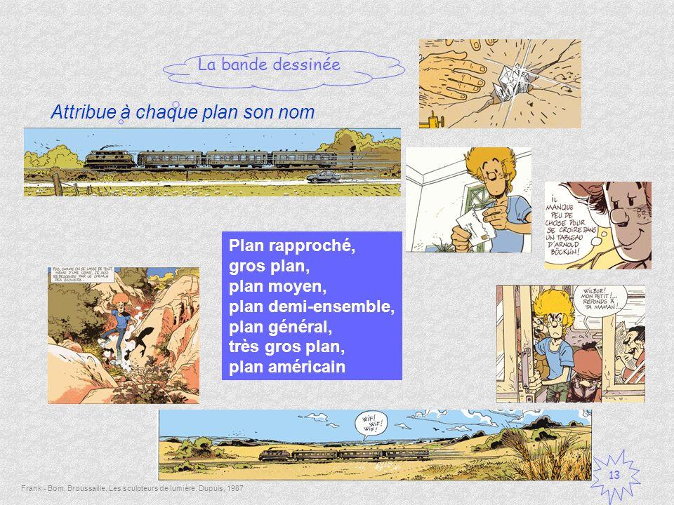 La bande dessinée 13 Frank - Bom, Broussaille, Les sculpteurs de lumière, Dupuis, 1987 Attribue à chaque plan son nom Plan rapproché, gros plan, plan