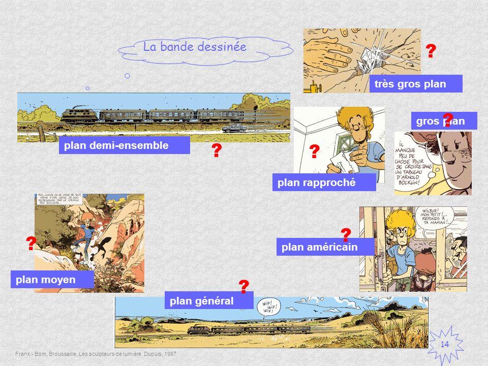 La bande dessinée 14 ? Frank - Bom, Broussaille, Les sculpteurs de lumière, Dupuis, 1987 plan américain plan rapproché gros plan plan moyen plan demi-